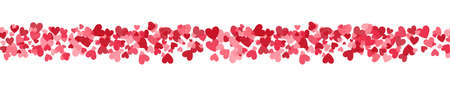 Heart long border. Celebration backdrop with heart confetti. Bright hearts confetti on white background. Valentines Day design for greeting card, wedding invitation, gift package. Vector illustration