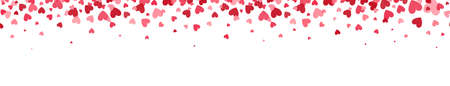 Celebration backdrop with heart confetti. Bright hearts confetti falling on white background. Valentines Day design elements for greeting cards, wedding invitation, gift packages. Vector illustration