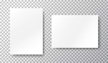 Blank mockup set on transparent background. White sheets of paper. Realistic brochure A4. Notebook with place for text. Closed vertical book, letter page. Empty page. Vector illustration
