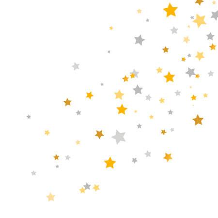 Golden and silver stars frame. Celebration banner. Gold and gray shooting stars. Glitter elegant design elements. Magic decoration. Children room decor. Vector illustration