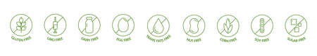 Organic and natural cosmetic line icon big set. GMO free emblems. Organic products badges. Hypoallergenic, safe for children, clean cosmetic, non toxic. Vegan, bio food. Vector illustration
