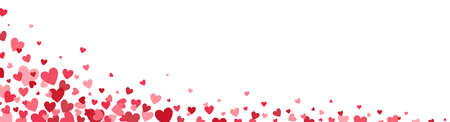 Heart confetti long border. Celebration banner. Bright pink hearts design elements. Valentines Day background for greeting cards, wedding invitation, gift packages. Vector illustration
