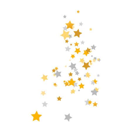 Golden and silver stars composition. Celebration banner. Children room decor. Gold and gray shooting stars. Glitter elegant design elements. Magic decoration. Vector illustration