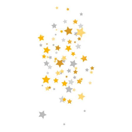 Golden and silver stars falling. Luxury glitter elegant design elements. Celebration banner. Gold and gray shooting stars. Magic decoration. Children room decor. Vector illustration