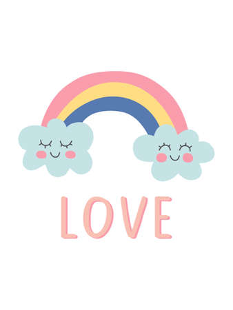 Poster with hand drawn rainbow and unique lettering love. Cute kids nursery print decor. Baby shower card. Lovely cartoon rainbow for wallpaper, print, fabric, wrapping, apparel. Vector illustration