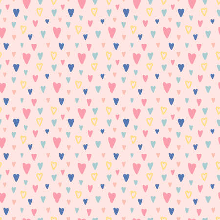 Hand drawn colorful hearts seamless pattern. Valentines Day pink background. Bright doodle heart confetti. Romantic wallpaper design with symbol of love. Celebration card. Vector illustration