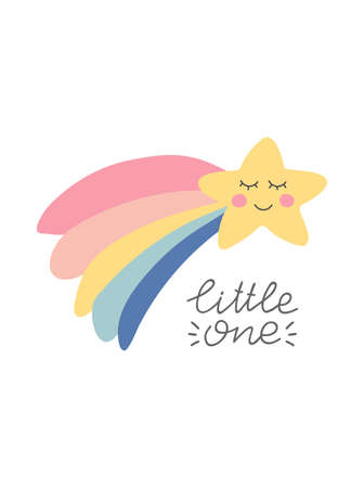 Little one unique hand lettering quote. Hand drawn smiling star with rainbow. Cute kids nursery icon. Baby shower. Lovely cartoon star for wallpaper, fabric, wrapping, apparel. Vector illustration