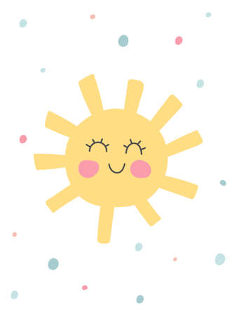 Kids nursery poster with funny sun. Organic cover design in pastel colors. Hand drawn unique doodle objects. Children room decoration. Baby shower party invitation. Vector illustrations