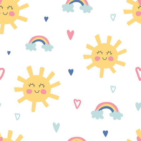 Funny sun and rainbow seamless pattern. Cute children texture. Kids nursery background in pastel colors. Baby shower decoration. Children room decor. Vector illustration 矢量图像