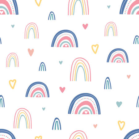 Unique hand drawn rainbow and hearts texture. Rainbow seamless pattern. Cute kids nursery background in pastel colors. Baby shower decoration. Children room decoration. Vector illustration 向量圖像