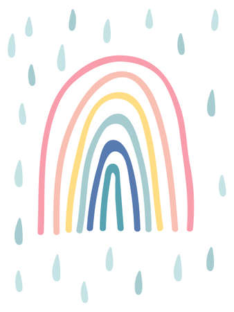 Hand drawn rainbow with raindrops. Cute kids nursery icon. Baby shower poster. Lovely cartoon rainbow for wallpaper, fabric, wrapping, apparel. Organic shapes background. Vector illustration