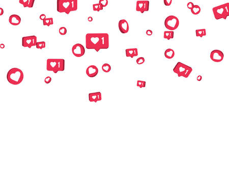 Social media elements on white background. Counter notification border. Social network. Comment and follower symbol. Emoji reactions. Vector illustration 矢量图像
