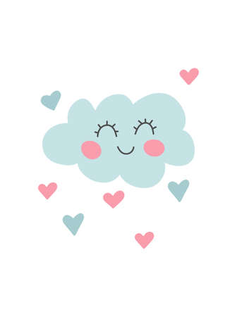 Hand drawn funny cloud with hearts. Unique doodle kids nursery decoration. Organic shapes cover design in pastel colors. Baby shower invitation. Vector illustrations