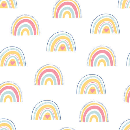 Rainbow seamless pattern. Unique hand drawn rainbow texture. Cute kid nursery background in pastel colors. Baby shower. Lovely cartoon rainbows for wallpaper, fabric, apparel. Vector illustration
