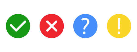 Check marks and cross mark set. Exclamation and question marks. Green tick and red cross in circle shape. YES or NO symbol. Concept of checklist, reject or accept. Quiz banner. Vector illustration