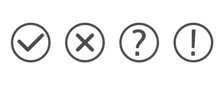 Check and cross marks set. Exclamation and question mark line art icons. Black tick and cross in circle shape. Quiz. YES or NO symbol. Concept of checklist, reject or accept. Vector illustration