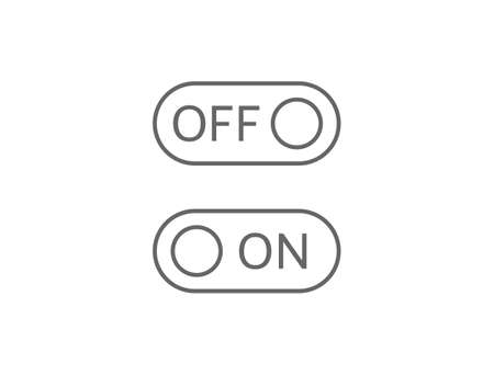 On and off line art icons. Switch buttons on white background. Toggle sign. Active and inactive symbol. Web interface. App design elements. Vector illustration 矢量图像
