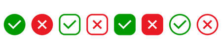 Green tick and red cross in circle and square line icons. Check marks and cross mark set. YES or NO symbol. Concept of checklist, reject or accept. Vector illustration