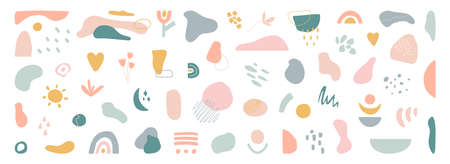 Organic shapes set on long banner. Hand draw abstract design elements in pastel colors. Minimal stylish cover template. Art form for social media stories, branding, banner, decor. Vector illustration 矢量图像