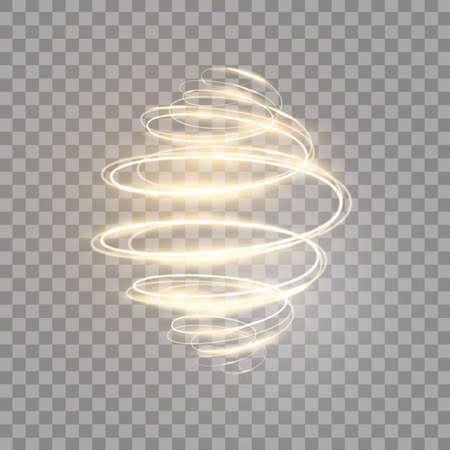 Gold glowing spiral on transparent background. Luxury golden light swirl. Bright speed motion effect. Glitter wavy trail. Magic neon light. Vector illustration 版權商用圖片 - 166692337