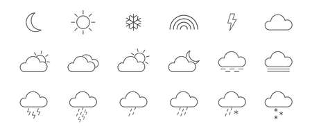Weather line icons set. Outline meteorology shapes. Collection of thin modern symbols of weather. Sun, rain, moon, cloud, cold, snow, wind, fog templates. Vector illustration