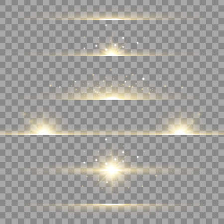 Lens flare set. Gold light effect lines on transparent background. Sun shining. Flash with rays and spotlight. Glowing lights, stars and sparkles. Vector illustration