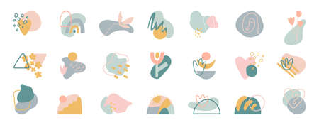 Organic shapes compositions set. Hand draw abstract design elements in pastel colors. Minimal stylish cover template. Art form for social media stories, branding, banner, decor. Vector illustration 矢量图像