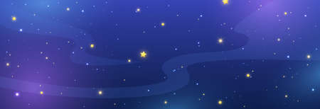 Night sky background with shiny stars. Blue galaxy long banner. Cosmos backdrop. Space texture. Magic light pattern. Universe template. Vector illustration