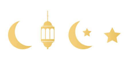 Ramadan gold icons set on white background. Golden lanterns, crescent and stars. Ramadan Kareem greeting card. Celebration design elements. Muslim islamic feast. Vector illustration