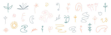 Cute cover design elements. Hand drawn line art floral shapes. Abstract form background. Organic shapes. Social media minimal stylish templates. Kids doodle room decoration. Vector illustration 矢量图像