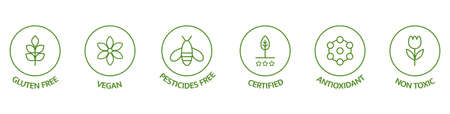 Natural cosmetic icons. Skincare logo. Pesticides free, vegan, bio, non toxic, certified labels. Beauty badges. GMO free emblems. Organic cosmetic line art stickers. Healthy food. Vector illustration 向量圖像