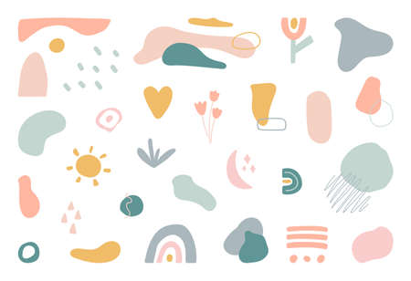 Minimal stylish cover template. Organic shapes set. Hand draw abstract design elements in pastel color. Art form for social media stories, branding, banner, decor. Bohemian style. Vector illustration