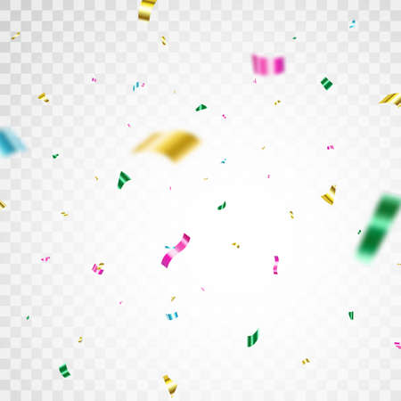 Color confetti background. Carnival serpentine and tinsel poster. Glitter falling paper. Anniversary party. Celebrate festive event card. Birthday surprise decoration. Vector illustration