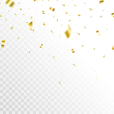 Golden confetti background. Celebrate event card. Glitter falling paper. Anniversary party. Carnival serpentine and tinsel poster. Birthday surprise decoration. Festive banner. Vector illustration