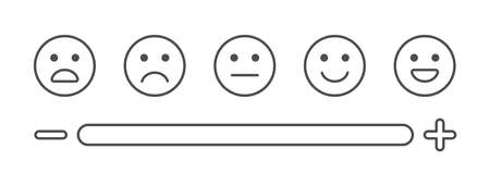 Feedback line art icons. Survey concept. Review emoji reaction set. Satisfaction scale. Business service. Consumer opinion. Customer design elements. Communication banner. Vector illustration