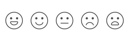 Feedback line art icons set. Review emoji reaction. Survey concept. Satisfaction scale. Business service. Consumer opinion. Customer design elements. Communication banner. Vector illustration 向量圖像