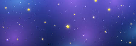 Night sky long banner with shiny stars. Space texture. Blue galaxy background. Cosmos backdrop. Magic light pattern. Universe template. Vector illustration 向量圖像