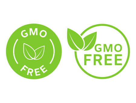 GMO free icons. Non GMO labels. Healthy organic food concept. No GMO design elements for tags, product packag, food symbol, emblems, stickers. Healthy, eco, vegan, bio. Vector illustration 向量圖像