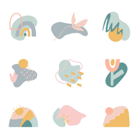 Minimal stylish cover templates. Organic shapes compositions set. Hand draw abstract design elements in pastel colors. Art form for social media stories, branding, banner, decor. Vector illustration 向量圖像