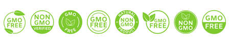 Non GMO labels. GMO free icons. Healthy organic food concept. No GMO design elements for tags, product packag, food symbol, emblems, stickers. Eco, vegan, bio. Vector illustration 向量圖像
