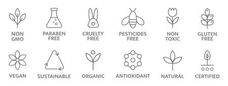 Natural and organic cosmetic line icons. Allergen free badges. Non toxic logo. Skincare symbol. Beauty product. Gluten and paraben free cosmetic. Eco, vegan label. Sensitive skin. Vector illustration 向量圖像