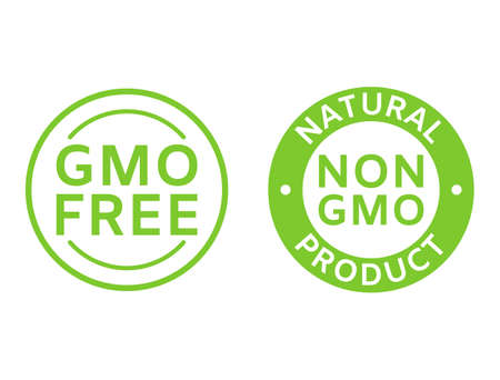 Non GMO labels. GMO free icons. Healthy organic food concept. No GMO design elements for tags, product packag, food symbol, emblems, stickers. Healthy, eco, vegan, bio. Vector illustration