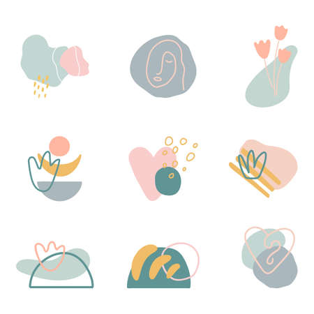 Organic shapes compositions set. Minimal stylish cover templates. Art form for social media stories, branding, banner, decor. Hand draw abstract design elements in pastel colors. Vector illustration