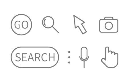 Search line icons set. Magnifying glass, search, cursor pointer, go, microphone, camera symbols. Search bar. Address and navigation template. Window display. Vector illustration