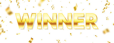 Winner long banner. Luxury congratulations banner. Winners team. Gold text with flying confetti. You are win celebration background. Successful champions. Vector illustration