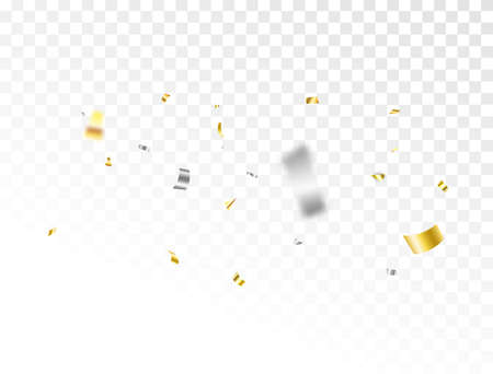 Gold and silver confetti background. Celebrate event card. Glitter falling paper. Anniversary party. Carnival serpentine and tinsel poster. Birthday surprise decoration. Festive. Vector illustration 向量圖像