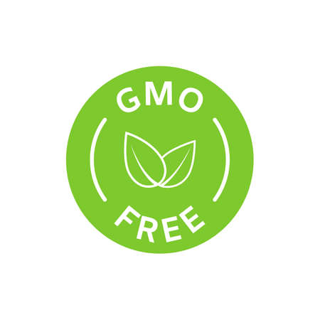 GMO free icon. Healthy organic food concept. No GMO design elements for tags, product packag, food symbol, emblems, stickers. Healthy, eco, vegan, bio labels. Vector illustration