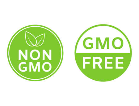 Non GMO icons. GMO free badges. Healthy organic food concept. No GMO design elements for tags, product packag, food symbol, emblems, stickers. Healthy, eco, vegan, bio labels. Vector illustration