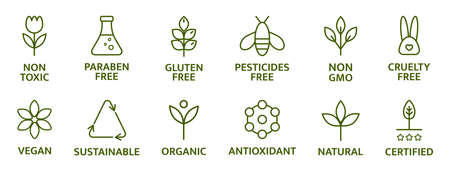 Organic and natural cosmetic line icons. Gluten and paraben free cosmetic. Allergen free badges. Non toxic logo. Skincare symbol. Beauty product. Eco, vegan label. Sensitive skin. Vector illustration