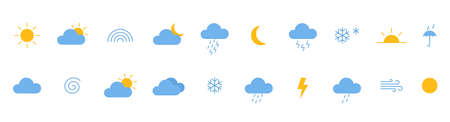 Weather color icons set. Collection of modern flat symbols of weather. Outline meteorology shapes on long banner. Sun, rain, moon, cloud, cold, snow, wind, fog templates. Vector illustration